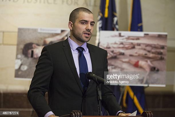 Torture survivor Qutaiba Idlbi speaks about the horrors he faced while in captivity under the Assad Regime during the unveiling of 'Caesar's Photos...