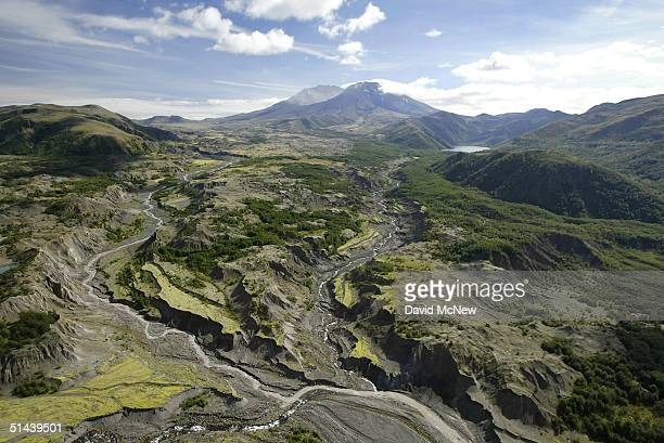 A tortured landscape remains from the 1980 eruption of Mount Saint Helens in the distance which created the biggest landslide ever recorded on...