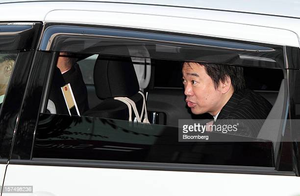 Toru Hashimoto mayor of Osaka and coleader of the Japan Restoration Party arrives at a campaign rally for the Dec 16 general elections in Osaka Japan...