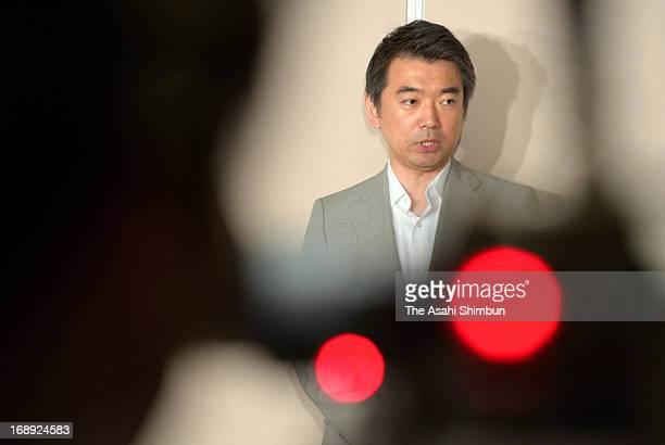 Toru Hashimoto Osaka mayor and coleader of the Japan Restoration Party speaks during a press conference at Osaka City Hall on May 15 2013 in Osaka...