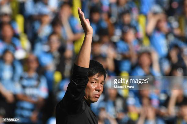 Toru Onikicoach of Kawasaki Frontale looks on during the JLeague J1 match between Kashiwa Reysol and Kawasaki Frontale at Sankyo Frontier Kashiwa...
