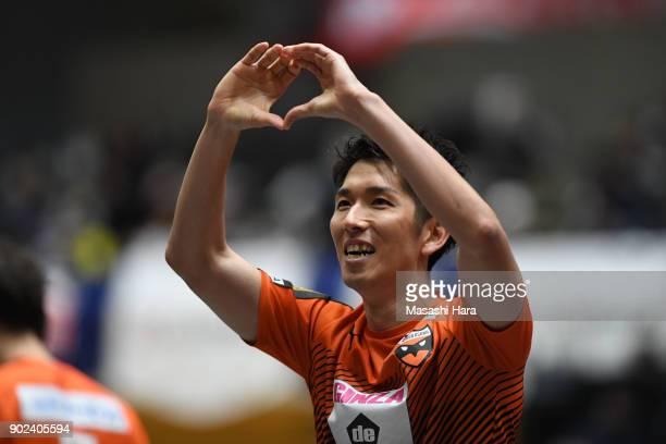 Toru Sato of Shriker Osaka celebrates the fourth goal during the FLeague match between Shriker Osaka and Agleymina Hamamatsu at the Komazawa...