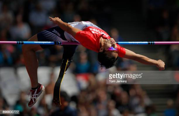 Toru Suzuki of Japan clears the bar on his way to winning bronze in the men's high jump T44 final during the World Para Athletics Championships 2017...