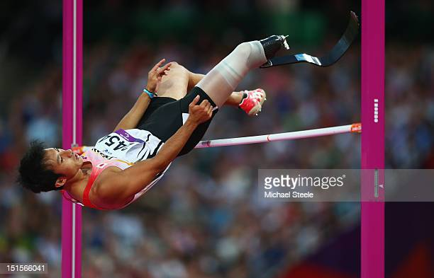 Toru Suzuki of Japan competes in the Men's High Jump F46 Final on day 10 of the London 2012 Paralympic Games at Olympic Stadium on September 8 2012...