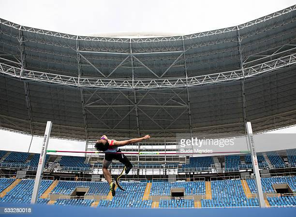 Toru Suzuki of Japan competes the Men's High Jump T44 Final during the Paralympics Athletics Grand Prix Aquece Rio Test Event for the Rio 2016...