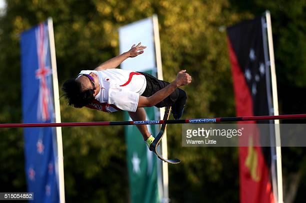 Toru Suzuki of Japan jumps in the Men's High Jump T4247 Final during the IPC Athletics AsiaOceania Championships at Dubai Police Stadium on March 12...