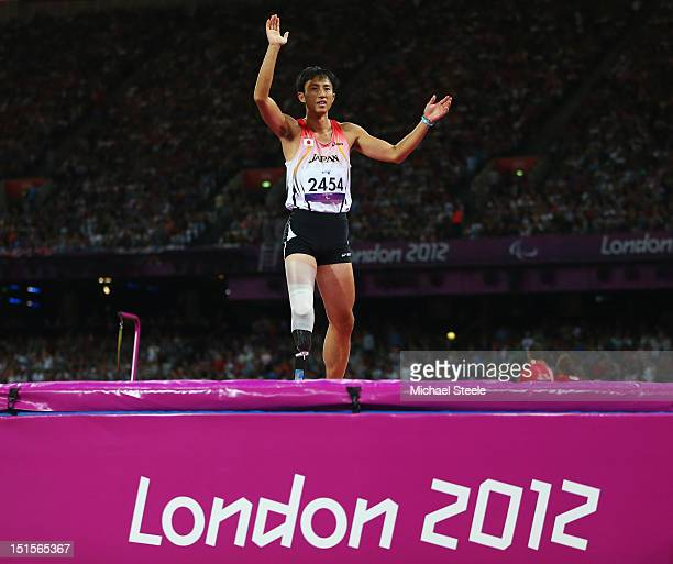 Toru Suzuki of Japan salutes the crowd during the Men's High Jump F46 Final on day 10 of the London 2012 Paralympic Games at Olympic Stadium on...
