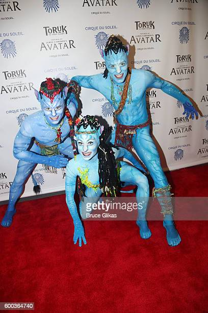 'Toruk' performers pose at the Opening Night for the New York Premeire of Cirque Du Soleil's 'Toruk' inspired by the James Cameron film 'Avatar' at...