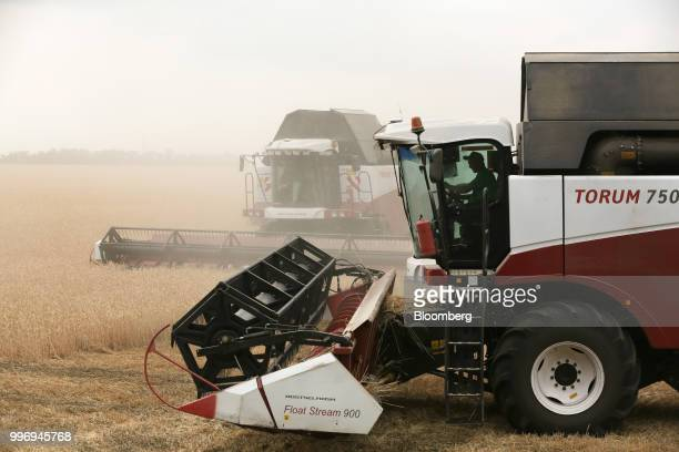 Torum combine harvesters manufactured by Rostselmash OJSC make a turn as they drive through a field of wheat during the summer harvest on a farm...