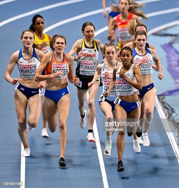 Torun , Poland - 5 March 2021; Selamawit Bayoulgn of Israel leads the field in the Women's 3000m Final during the second session on day one of the...