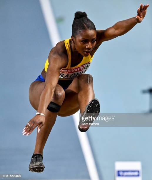 Torun , Poland - 6 March 2021; Khaddi Sagnia of Sweden on her way to winning bronze in the Women's Long Jump Final during the second session on day...