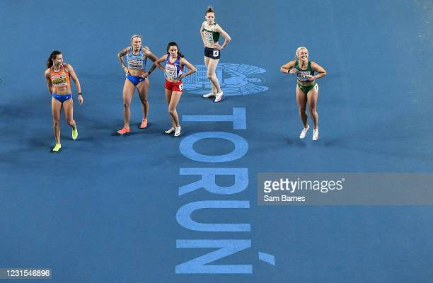 Torun , Poland - 6 March 2021; Sarah Lavin of Ireland, right, celebrates after finishing third and setting a personal best in her heat of the Women's...