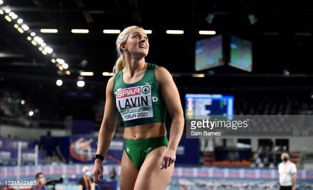 Torun , Poland - 7 March 2021; Sarah Lavin of Ireland after finishing fourth in her semi-final of the Women's 60m Hurdles during the first session on...