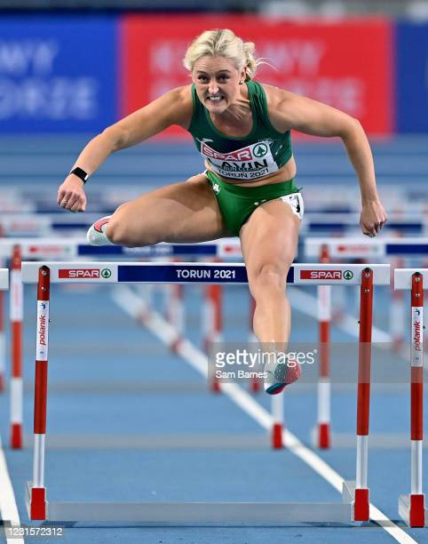 Torun , Poland - 7 March 2021; Sarah Lavin of Ireland on her way to finishing fourth in her semi-final of the Women's 60m Hurdles during the first...
