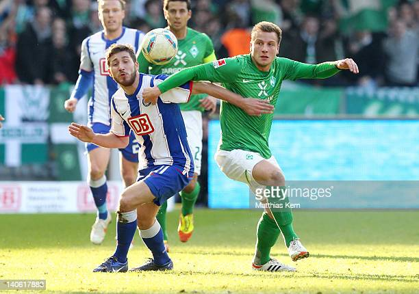 Torun Tunay of Berlin battles for the ball with Philipp Bargfrede of Bremen during the Bundesliga match between Hertha BSC Berlin and SV Werder...