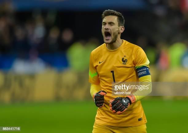 Torwart Hugo Lloris schreit seine Jubel ueber das Tor zum 20 raus waehrend dem Fussball Laenderspiel Frankreich gegen Deutschland am 13November 2015...