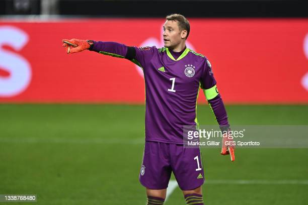 Torwart Manuel Neuer of Germany gives his team instructions during the 2022 FIFA World Cup Qualifier match between Germany and Armenia at Mercedes...