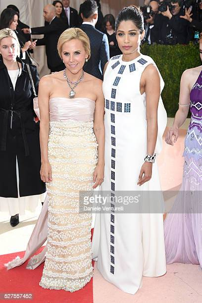 """Tory Burch and Freida Pinto attend the """"Manus x Machina: Fashion In An Age Of Technology"""" Costume Institute Gala at Metropolitan Museum of Art on May..."""