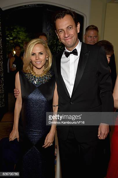 Tory Burch and her fianc�� PierreYves attend the Bloomberg Vanity Fair cocktail reception following the 2015 WHCA Dinner at the residence of the...