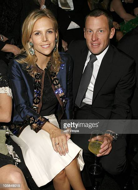 Tory Burch and Lance Armstrong during Giorgio Armani Prive in LA Front Row at Green Acres in Los Angeles California United States