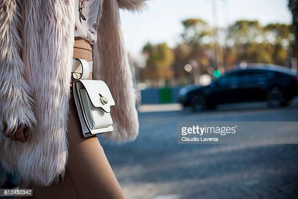 Tory Burch bag outside the Chanel show on day 8 of Paris Womens Fashion Week Spring/Summer 2017, on October 4, 2016 in Paris, France.