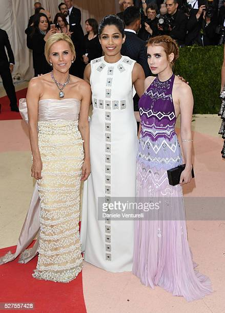 Tory Burch Freida Pinto and Emma Roberts attend the 'Manus x Machina Fashion In An Age Of Technology' Costume Institute Gala at Metropolitan Museum...