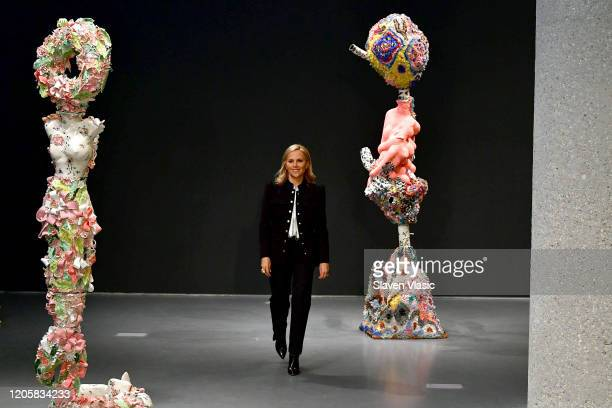 Tory Burch walks the runway during the Tory Burch Fall Winter 2020 Fashion Show at Sotheby's on February 09, 2020 in New York City.