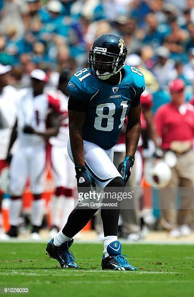 Tory Holt of the Jacksonville Jaguars lines up during the game against the Arizona Cardinals at Jacksonville Municipal Stadium on September 20 2009...
