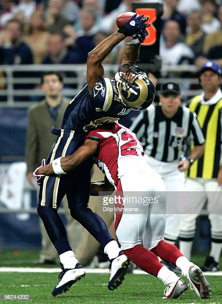 Tory Holt of the St Louis Rams attempts to make a catch against David Macklin of the Arizona Cardinals at the Edward Jones Dome November 20 2005 in...