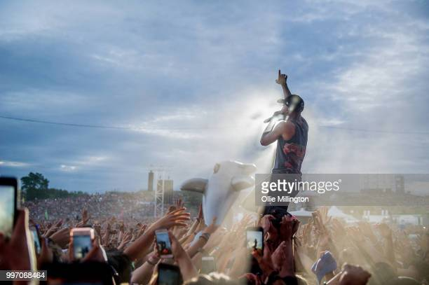 Alex Pall Andrew Taggart and Matt Mcguire of Chain Smokers perform onstage at the mainstage at The Plains of Abraham in The Battlefields Park during...
