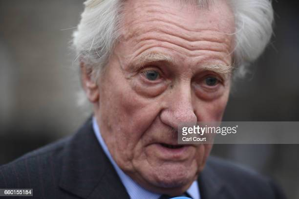 Tory Peer Michael Heseltine gives an interview on College Green on March 29 2017 in London England Faith Leaders head up a vigil including members of...