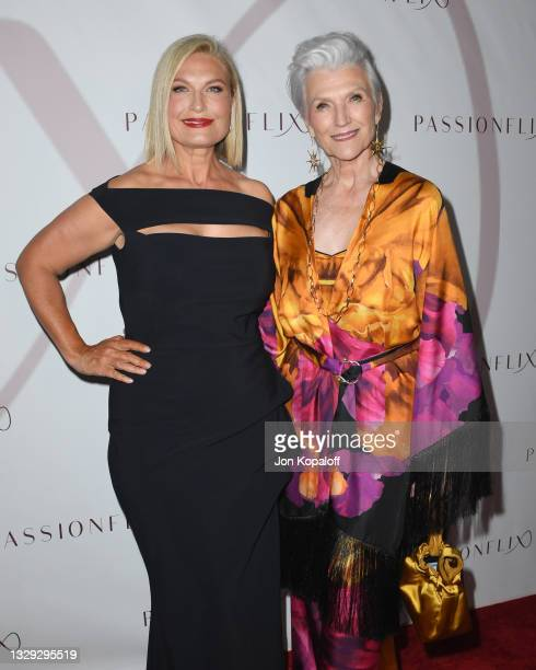 """Tosca Musk and Maye Musk arrive at Passionflix's Series """"Driven"""" Season 2 Premiere at AMC Santa Monica 7 on July 17, 2021 in Santa Monica, California."""