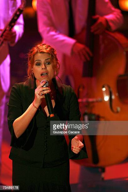 Tosca performs during the last day of the 57th Sanremo Music Festival at Teatro Ariston on March 3 2007 in Sanemo Italy