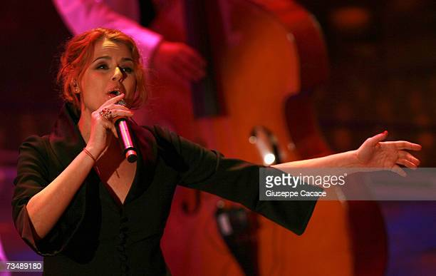 Tosca performs during the last day of the 57th Sanremo Music Festival at Teatro Ariston on March 3, 2007 in Sanemo, Italy.