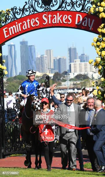 Tosen Stardom ridden by Damian Lane after winning the Emirates Stakes during 2017 Stakes Day at Flemington Racecourse on November 11 2017 in...