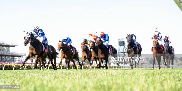 Tosen Stardom ridden by Damian Lane wins the Emirates Stakes at Flemington Racecourse on November 11 2017 in Flemington Australia