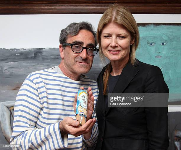 Tosh Berman and Fawn Hall attend Time Alters All A Retrospective Of An Emerging Artist Exhibition By Michael LindsayHogg on June 12 2012 in West...