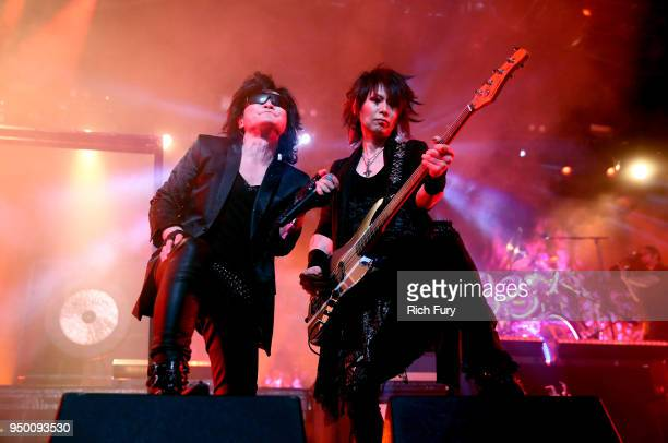 Toshi and Heath of X Japan perform onstage during the 2018 Coachella Valley Music And Arts Festival at the Empire Polo Field on April 21 2018 in...