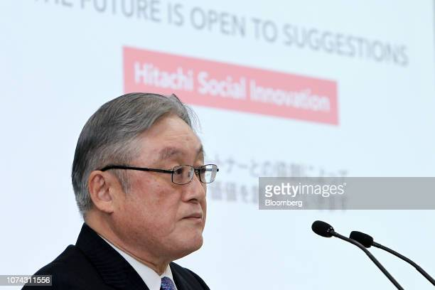 Toshiaki Higashihara, president and chief executive officer of Hitachi Ltd., attends a news conference in Tokyo, Japan, on Monday, Dec. 17, 2018....
