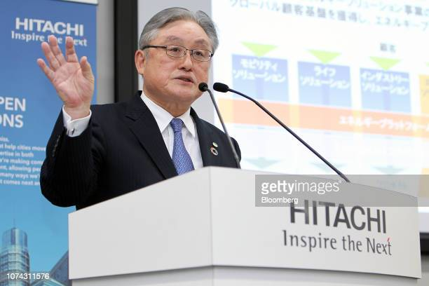 Toshiaki Higashihara president and chief executive officer of Hitachi Ltd speaks during a news conference in Tokyo Japan on Monday Dec 17 2018...