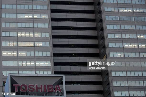 Toshiba Corporations Tokyo headquarters is seen on July 22 2015 in Tokyo Japan Toshiba Corporation President Hisao Tanaka and two other executives...