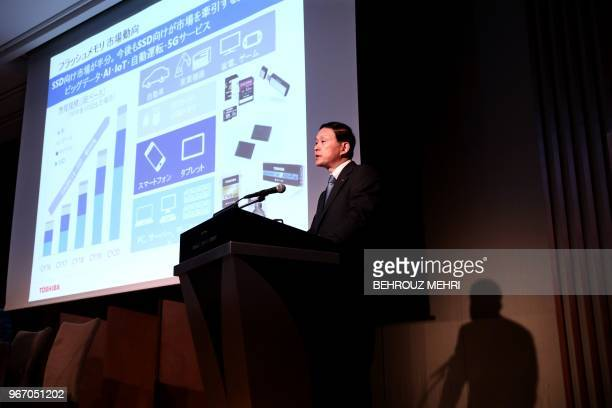 Toshiba Memory Corp President Yasuo Naruke speaks about company's business strategy during a joint press conference with Bain Capital in Tokyo on...