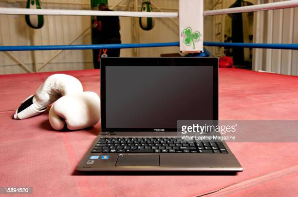 A Toshiba Satellite P850 laptop PC photographed in a boxing ring taken on May 29 2012