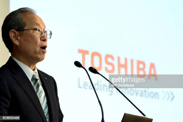 Toshiba's President Satoshi Tsunakawa delivers a speech during a press conference at the company's headquarters in Tokyo on August 10 2017 Toshiba on...