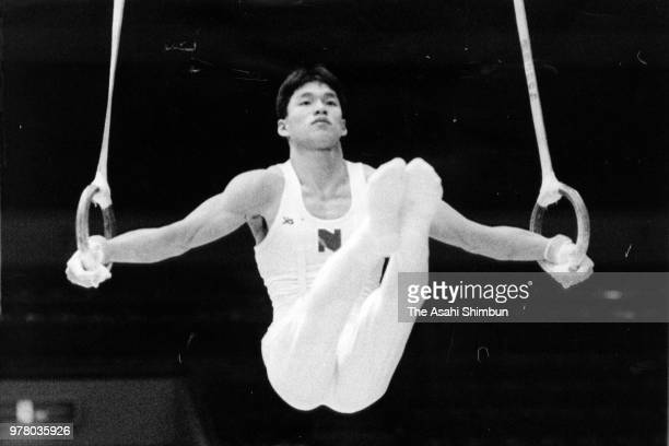 Toshiharu Sato competes in the rings of the Men's All Around during the 42nd All Japan Artistic Gymnastic Championships at Sendai City Gymnasium on...