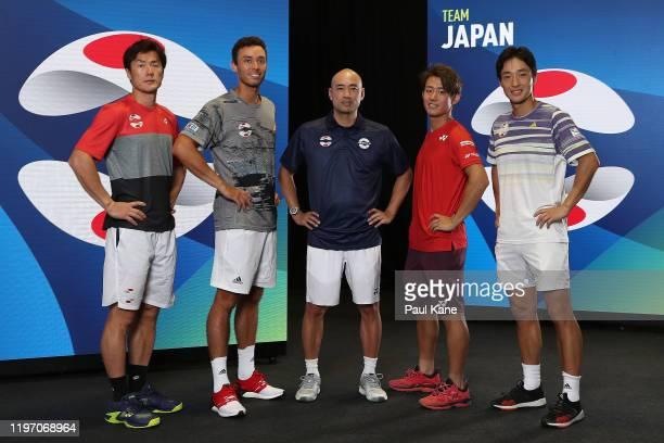 Toshihide Matsui, Ben McLachlan, Satoshi Yabushi, Yoshihito Nishioka and Go Soeda of Team Japan pose for a team photo ahead of the 2020 ATP Cup Group...