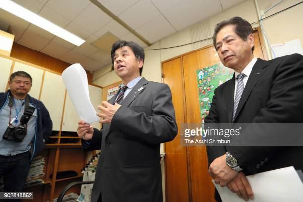 Toshihiko Furuya director of the Japan Canoe Federation faces the media on January 9 2018 in Tokyo Japan 32yearold Yasuhiro Suzuki desperate to make...