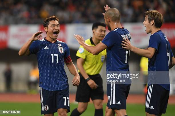 Toshihiro Aoyama of Japan celebrates their third goal during the international friendly match between Japan and Panama at Denka Big Swan Stadium on...