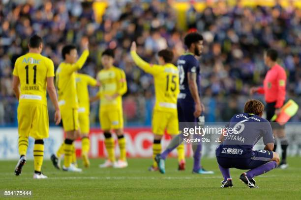Toshihiro Aoyama of Sanfrecce Hiroshima shows dejection after his side's 0-1 defeat in the J.League J1 match between Kashiwa Reysol and Sanfrecce...