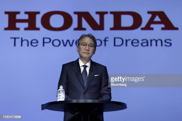 Toshihiro Mibe, president and chief executive officer of Honda Motor Co., listens during a news conference in Tokyo, Japan, on Friday, April 23,...